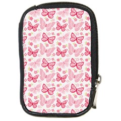 Cute Pink Flowers And Butterflies pattern  Compact Camera Cases