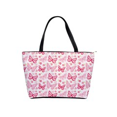 Cute Pink Flowers And Butterflies pattern  Shoulder Handbags
