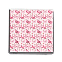 Cute Pink Flowers And Butterflies pattern  Memory Card Reader (Square)