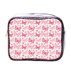 Cute Pink Flowers And Butterflies pattern  Mini Toiletries Bags