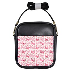 Cute Pink Flowers And Butterflies pattern  Girls Sling Bags