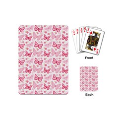 Cute Pink Flowers And Butterflies pattern  Playing Cards (Mini)