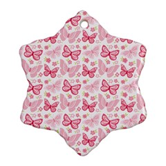 Cute Pink Flowers And Butterflies pattern  Snowflake Ornament (Two Sides)
