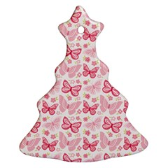 Cute Pink Flowers And Butterflies pattern  Christmas Tree Ornament (Two Sides)