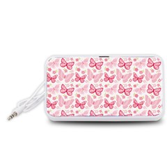 Cute Pink Flowers And Butterflies pattern  Portable Speaker (White)