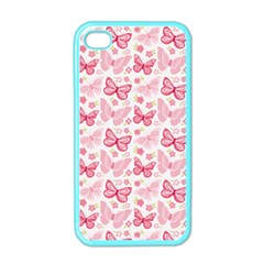 Cute Pink Flowers And Butterflies pattern  Apple iPhone 4 Case (Color)
