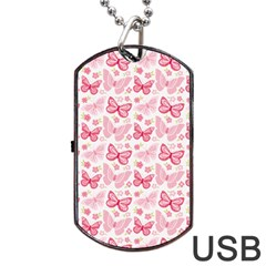 Cute Pink Flowers And Butterflies pattern  Dog Tag USB Flash (Two Sides)
