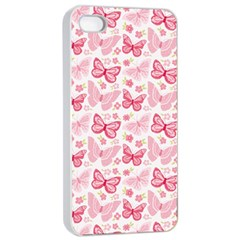 Cute Pink Flowers And Butterflies pattern  Apple iPhone 4/4s Seamless Case (White)