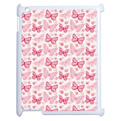 Cute Pink Flowers And Butterflies pattern  Apple iPad 2 Case (White)