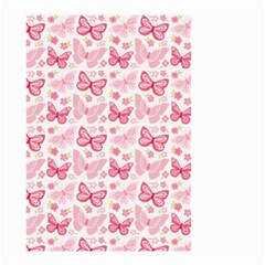Cute Pink Flowers And Butterflies pattern  Small Garden Flag (Two Sides)
