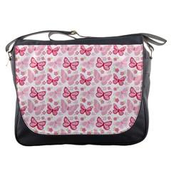 Cute Pink Flowers And Butterflies pattern  Messenger Bags