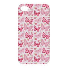 Cute Pink Flowers And Butterflies pattern  Apple iPhone 4/4S Premium Hardshell Case