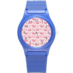 Cute Pink Flowers And Butterflies pattern  Round Plastic Sport Watch (S)