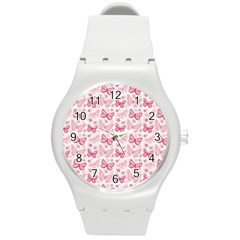 Cute Pink Flowers And Butterflies pattern  Round Plastic Sport Watch (M)