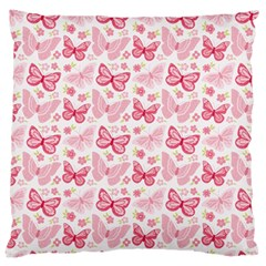 Cute Pink Flowers And Butterflies pattern  Large Cushion Case (Two Sides)