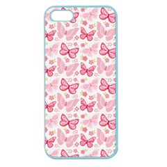 Cute Pink Flowers And Butterflies pattern  Apple Seamless iPhone 5 Case (Color)