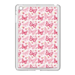 Cute Pink Flowers And Butterflies pattern  Apple iPad Mini Case (White)