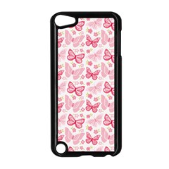 Cute Pink Flowers And Butterflies pattern  Apple iPod Touch 5 Case (Black)
