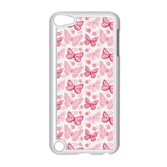 Cute Pink Flowers And Butterflies pattern  Apple iPod Touch 5 Case (White)