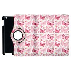 Cute Pink Flowers And Butterflies pattern  Apple iPad 3/4 Flip 360 Case