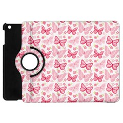 Cute Pink Flowers And Butterflies pattern  Apple iPad Mini Flip 360 Case