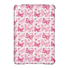 Cute Pink Flowers And Butterflies pattern  Apple iPad Mini Hardshell Case (Compatible with Smart Cover)