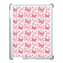 Cute Pink Flowers And Butterflies pattern  Apple iPad 3/4 Case (White)