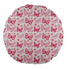 Cute Pink Flowers And Butterflies pattern  Large 18  Premium Round Cushions