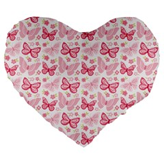 Cute Pink Flowers And Butterflies pattern  Large 19  Premium Heart Shape Cushions
