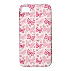 Cute Pink Flowers And Butterflies pattern  Apple iPhone 4/4S Hardshell Case with Stand