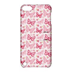 Cute Pink Flowers And Butterflies pattern  Apple iPod Touch 5 Hardshell Case with Stand