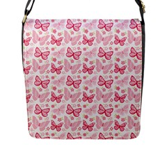 Cute Pink Flowers And Butterflies pattern  Flap Messenger Bag (L)