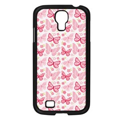 Cute Pink Flowers And Butterflies pattern  Samsung Galaxy S4 I9500/ I9505 Case (Black)
