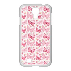 Cute Pink Flowers And Butterflies pattern  Samsung GALAXY S4 I9500/ I9505 Case (White)