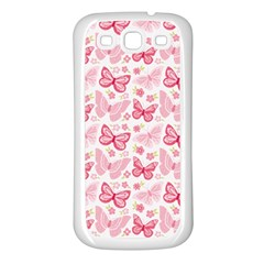 Cute Pink Flowers And Butterflies pattern  Samsung Galaxy S3 Back Case (White)