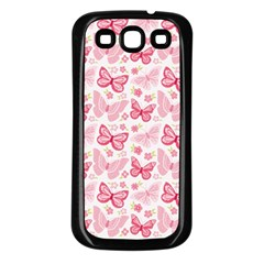 Cute Pink Flowers And Butterflies pattern  Samsung Galaxy S3 Back Case (Black)