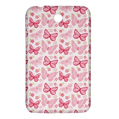 Cute Pink Flowers And Butterflies pattern  Samsung Galaxy Tab 3 (7 ) P3200 Hardshell Case
