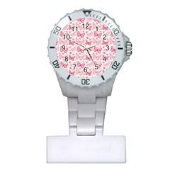 Cute Pink Flowers And Butterflies pattern  Plastic Nurses Watch