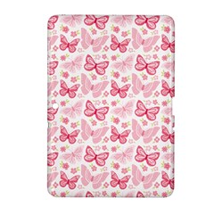 Cute Pink Flowers And Butterflies pattern  Samsung Galaxy Tab 2 (10.1 ) P5100 Hardshell Case