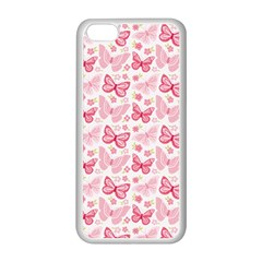 Cute Pink Flowers And Butterflies pattern  Apple iPhone 5C Seamless Case (White)