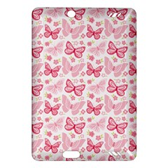 Cute Pink Flowers And Butterflies pattern  Amazon Kindle Fire HD (2013) Hardshell Case
