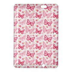 Cute Pink Flowers And Butterflies pattern  Kindle Fire HDX 8.9  Hardshell Case