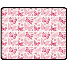 Cute Pink Flowers And Butterflies pattern  Double Sided Fleece Blanket (Medium)