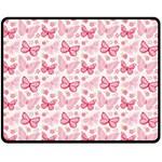 Cute Pink Flowers And Butterflies pattern  Double Sided Fleece Blanket (Medium)  60 x50 Blanket Back