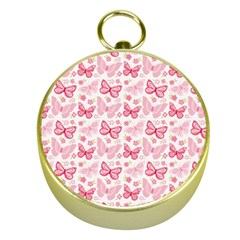Cute Pink Flowers And Butterflies pattern  Gold Compasses