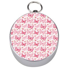 Cute Pink Flowers And Butterflies pattern  Silver Compasses