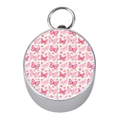 Cute Pink Flowers And Butterflies pattern  Mini Silver Compasses