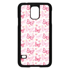 Cute Pink Flowers And Butterflies pattern  Samsung Galaxy S5 Case (Black)