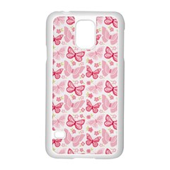 Cute Pink Flowers And Butterflies pattern  Samsung Galaxy S5 Case (White)