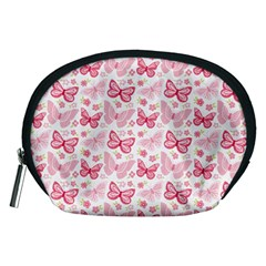Cute Pink Flowers And Butterflies pattern  Accessory Pouches (Medium)